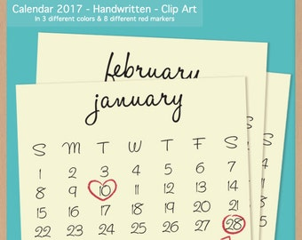 2017 HANDWRITTEN CALENDAR - Scrapbook Clip Art - Printable Digital Monthly Calendar  - Instant Download