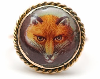 12k Victorian Fox Stick Pin Ring