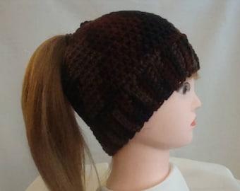 Ponytail Hat - Brown Ponytail Hat - Messy Bun Hat - Brown Messy Bun Hat - Bun Hat - Brown Bun Hat - Womens Messy Bun Hat