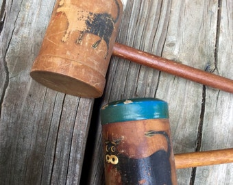 Rustic Mallet Cow Salt and Pepper Shakers