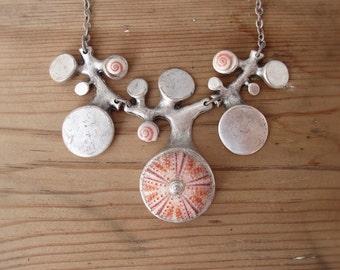 Organic Sea Urchin Necklace Pink seashells and sea urchin
