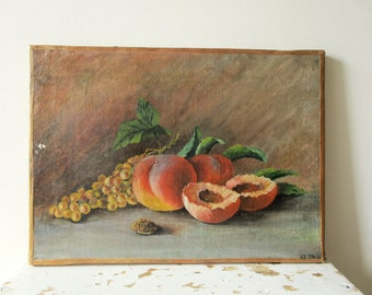 Vintage antique french Oil Painting on canvas, 1930s, Still life, Kitchen fruit, Signed by the artist, France, Nature morte