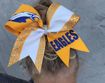 Adorable Allstar sized Eagles Rhinestone Cheer bow by FunBows !
