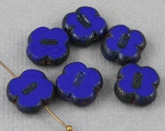 Blue Czech glass table cut clover beads with picasso finish edge - 12mm - FB109