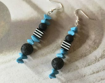 Earrings turquoise, Pearl perfume, essential oil diffuser.