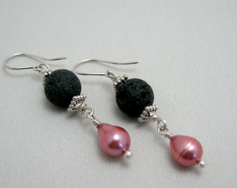Lava Pink Pearl Drop Earrings Black Lava Dusty Rose Freshwater Pearl Sterling Silver Dangle Aromatherapy Earrings