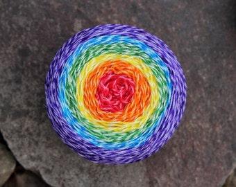 Rainbow - Hand Dyed Sock Yarn - Cake - Rainbow Yarn Cake - Self Striping