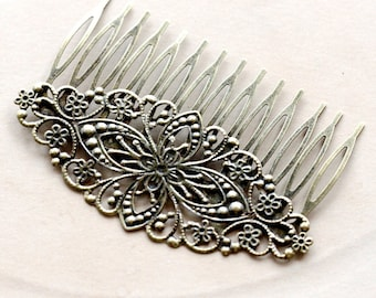 5Pcs Wholesale Antique bronze plated  Filigree hair comb Setting NICKEL FREE(COMBSS-19)