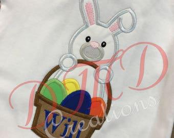 Boy or girl Bunny with basket if eggs Applique Shirt