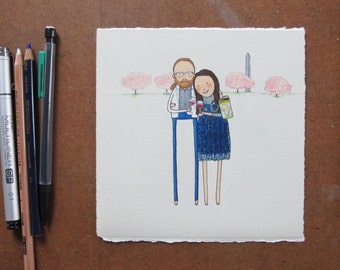 custom couple portrait + simple scenery   hand drawn personalized wedding gift. engagement. anniversary gift. birthday gift. best friend