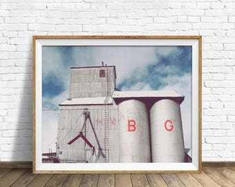 "grain elevator, instant download printable art, downloadable wall art, large art, large wall art, print, farmhouse wall art -""The B and G"""