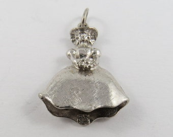 Country Bridesmaid Holding Bouquet  Sterling Silver Charm or Pendant.