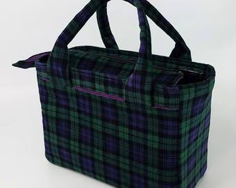 Plaid tote bag, scripture bag, plaid purse, scripture case, small purse, zipper tote