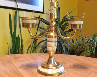 Vintage Brass Mother Of Pearl Inlay Candelabra