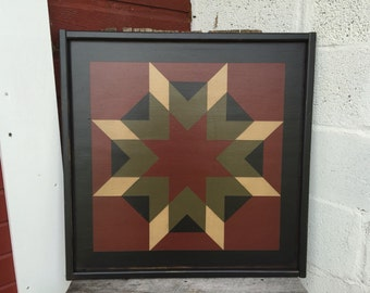 PriMiTiVe Hand-Painted Barn Quilt, Small Frame 2' x 2' - Harvest Star Pattern (Cinder w/ Reversed)