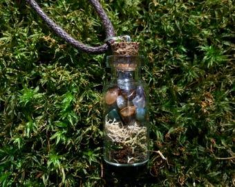 Mossy Crystal Bottle Terrarium Necklace