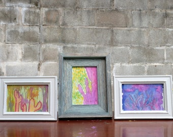 """Three (3) Framed Mixed Media Cactus Paintings - Gouache & Watercolor on Paper - 4"""" x 6"""""""