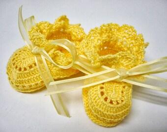 Yellow Baby Girl Booties, Crochet Baby Booties,  Yellow Ribbons Newborn Baby Girl or Reborn Doll