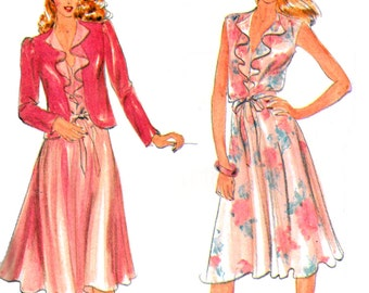 70s Butterick 3573 Loose Fitting Dress with Cap Sleeves, V-Neckline Flounce and Jacket, Uncut, Factory Folded, Sewing Pattern Size 8-12
