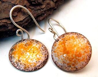 LAST Pair of Handmade Copper Enamel Earrings in TANGERINE DREAM - Medium Round Discs on Sterling Silver Wires