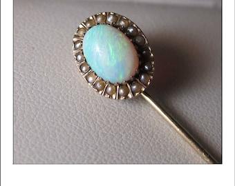 Antique Art deco 14k Opal Seed Pearl Stick Pin brooch