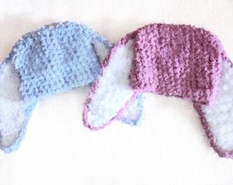3 to 6m Infant Boy Girl Twin Baby Hats, Baby Bunny Twin Hat Set, Crochet Bunny Hats, Plum Blue Twin Baby Shower Gift, Twin Photo Prop