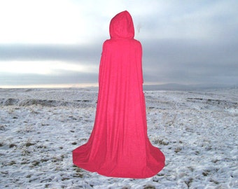 Red Cloak Cape Faux Suede Halloween Costume Hooded  Renaissance Medieval Camelot Little Red Riding Hood