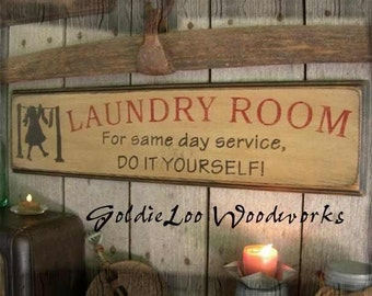 Laundry Room , Typography Word Art, Subway Art, Primitive Sign