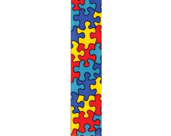"7/8"" Jigsaw Autism Awareness Ribbon - Puzzle Pieces - Berwick Offray"