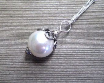 Single Pearl Necklace, White Solitaire Pearl, Sterling Silver, June Birthstone, Sea Shell Pearl Necklace,  Wedding Jewelry