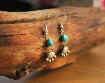 Little Paw Charm Turquoise Earrings