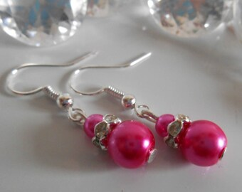 Wedding earrings Fuchsia beads and rhinestones