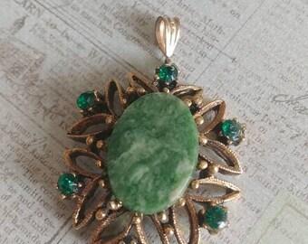Green Stone vintage pendant