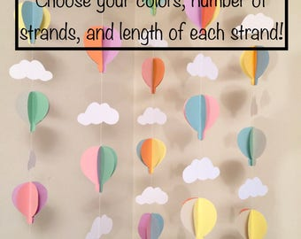 Oh the Places You'll Go Decor- Air Balloon Baby Shower Decorations- Pastel Hot Air Balloon Decorations - Hot Air Balloon Birthday decor