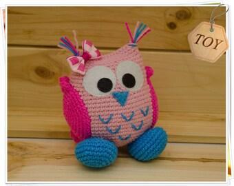 Crochet Owl Toy, Amigurumi Owl, Crochet Pink Owl, Stuffed Owl Toy, Soft Owl Toy, Crochet Bird, Crochet Baby Owl Girl, Handmade Owl
