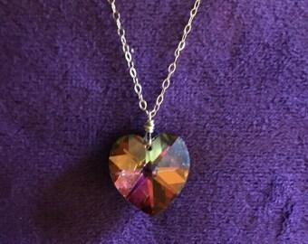 Crystal Heart Necklace, Swarovski Heart, Gold Crystal Heart Necklace, 14k Gold Filled, Crystal Heart Pendant, Swarovski Vitrail Medium