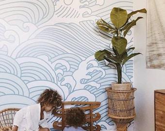 Bombora Mural - Blue Contemporary Wallpaper