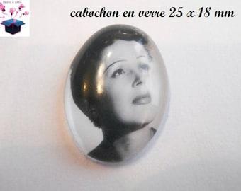 1 cabochon glass 25mm x 18mm theme edith piaf
