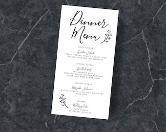 Wedding menu Design, Elegant printable menu,craft paper,Modern, 4.25 x 7.75