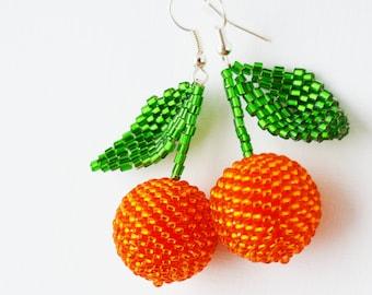 Orange earrings Beaded earrings citrus jewellery mandarin earrings boho Fruit earrings fruit jewelry Orange jewelry funny