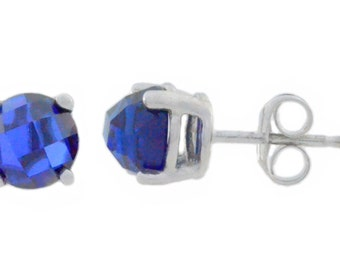 Blue Sapphire Checkerboard Round Stud Earrings .925 Sterling Silver