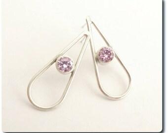 Sterling Silver Teardrop Earrings with Amethyst CZ