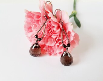 Handmade silver earrings with smoky quartz, Subtle, simply earrings, wire-wrapping earrings