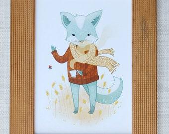 Blue Fox Print 5x7