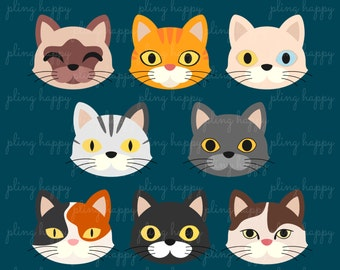 70% OFF Kitty Cat Clipart Graphics, Personal & Small Commercial Use, Instant Download