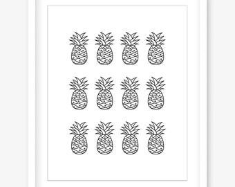 Printable pineapple poster - pineapple print - black and white printable art - pineapple design - printable wall decor - DIGITAL DOWNLOAD
