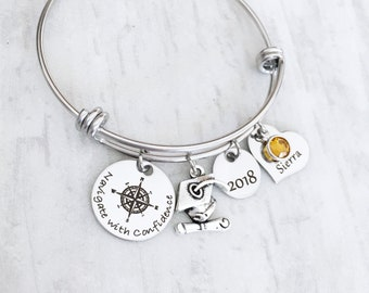 Inspirational Graduation Jewelry - Compass Jewelry - Graduation Gift for Her - Class of 2018 Gift - Navigate with Confidence
