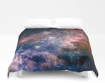 Duvet Cover, Nebula Galaxy Stars Sky Bedding Cover, Outer Space Bedroom Decor, Carina Nebula, Home Decor, King, Queen, Full
