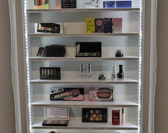 Makeup organizer glamour retail display frame with LED lighting and Diamante trim