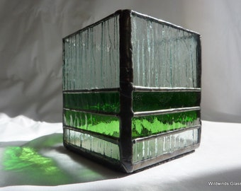 Stained Glass Candle Holder in Shades of Green
